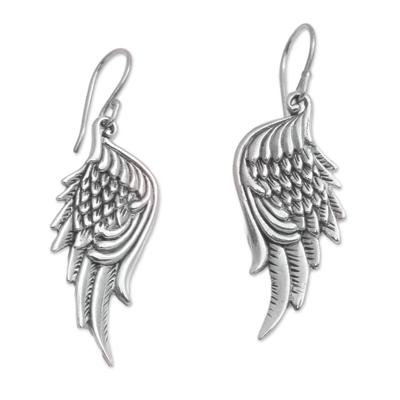 Sterling silver dangle earrings, 'Liberty Wings' - Sterling Silver Feathered Wings Dangle Earrings