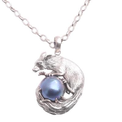 Cultured pearl pendant necklace, 'Blue Squirrel Orb' - Blue Cultured Pearl Pendant Necklace from Bali