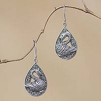 Sterling silver dangle earrings, 'Tropical Swans' - Sterling Silver Dangle Earrings with Swan Motif