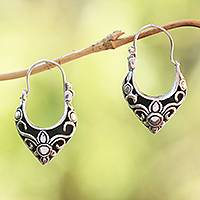 Sterling silver hoop earrings, 'Fine Blossoms' - Handmade Sterling Silver Hoop Earrings from Bali