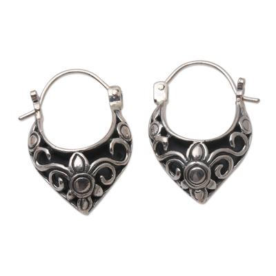 Sterling silver hoop earrings, 'Fine Blossoms' - Handmade Sterling Silver Hoop Earrings from Bali