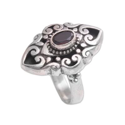 Garnet cocktail ring, 'Fiery Soul' - Curl Motif Garnet Cocktail Ring from Bali