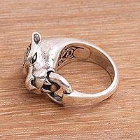 Men's sterling silver ring, 'Tiger Hook' - Men's Sterling Silver Tiger Ring from Bali