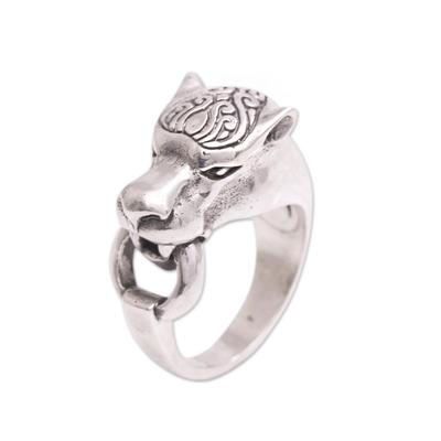 Men's sterling silver ring, 'Tiger Hook' - Men's Sterling Silver Tiger Ring from Bali