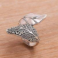 Sterling silver cocktail ring, 'Otherworldly Leaf' - Sterling Silver Leaf Cocktail Ring from Bali