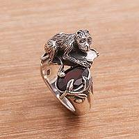 Garnet cocktail ring, 'Bojog Tree' - Sterling Silver Garnet Monkey and Tree Theme Cocktail Ring