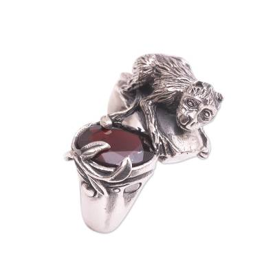 Sterling Silver Garnet Monkey and Tree Theme Cocktail Ring