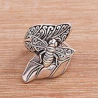 Sterling silver cocktail ring, 'Bee Grove' - Sterling Silver Bee Cocktail Ring from Bali