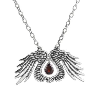 Garnet pendant necklace, 'Divine Angel' - Garnet Wing Pendant Necklace Crafted in Bali