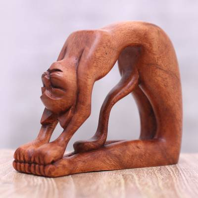 Wood sculpture, 'Ustrasana Kitty' - Suar Wood Sculpture of a Cat in Ustrasana Yoga Pose