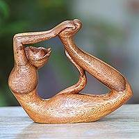 Wood sculpture, 'Dhanurasana Kitty' - Suar Wood Sculpture of a Cat in Dhanurasana Yoga Pose
