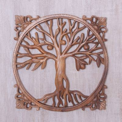Wood relief panel, 'Reaching Tree' - Hand-Carved Suar Wood Relief Panel of a Tree from Bali