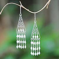 Cultured pearl chandelier earrings, 'Temple Snowfall' - Cultured Pearl Chandelier Earrings Crafted in Bali