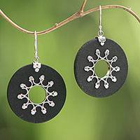Sterling silver dangle earrings, 'Dark Sun' - Sterling Silver Lava Stone Dark Sun Black Dangle Earrings