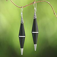 Sterling silver dangle earrings, 'Dark Shards' - Sterling Silver Lava Stone Dark Shard Dangle Earrings