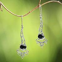 Onyx dangle earrings, 'Midnight Garden Breeze' - Onyx Sterling Silver Floral Motif Scrollwork Dangle Earrings