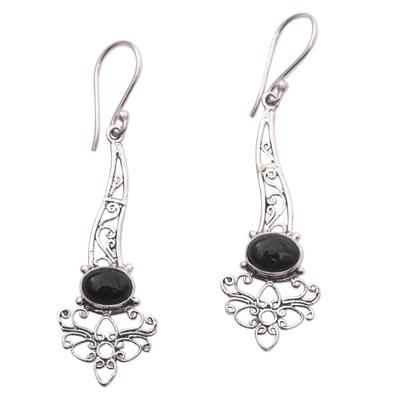 Onyx Sterling Silver Floral Motif Scrollwork Dangle Earrings