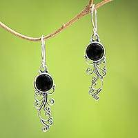 Onyx dangle earrings, 'Malam Dance' - Handcrafted Onyx Sterling Silver Scrollwork Dangle Earrings