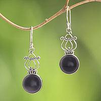 Onyx dangle earrings, 'Raven Queen' - Handcrafted Onyx and Sterling Silver Dangle Earrings