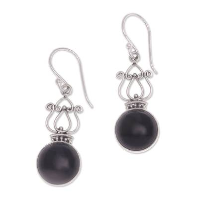 Handcrafted Onyx and Sterling Silver Dangle Earrings