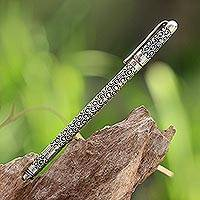 Sterling silver ball-point pen, 'Fortune Suns' - Sterling Silver Horseshoe Motif Black Ink Ball-Point Pen
