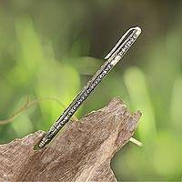 Sterling silver ballpoint pen, 'Tulis Vines' - Handmade Sterling Silver Ballpoint Writing Pen
