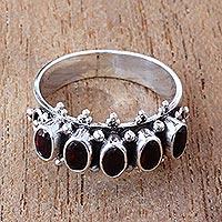 Garnet multi-stone ring, 'Velvet Crown' - Handcrafted Five Oval Garnet Gemstone Sterling Silver Ring