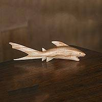 Wood sculpture, 'Thresher Shark' - Hand Carved Wood Thresher Shark Sculpture from Bali
