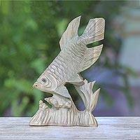 Wood sculpture, 'Swimming Gourami' - Hand-Carved Swimming Gourami Fish Hibiscus Wood Sculpture