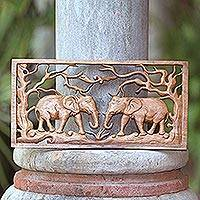 Wood relief panel, 'Elephant Woods' - Elephants Among Trees Hand Carved Wood Relief Panel