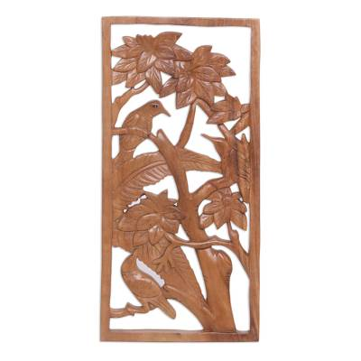 Wood relief panel, 'Songbird Friends' - Three Birds in Tree Hand Carved Wood Relief Panel from Bali