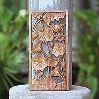 Wood relief panel, 'Graceful Lily' - Budding Lily Pads in Pond Hand Carved Wood Relief Panel