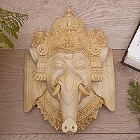 Wood mask, 'Ganesha's Majesty' - Crocodile Wood Mask of Ganesha from India