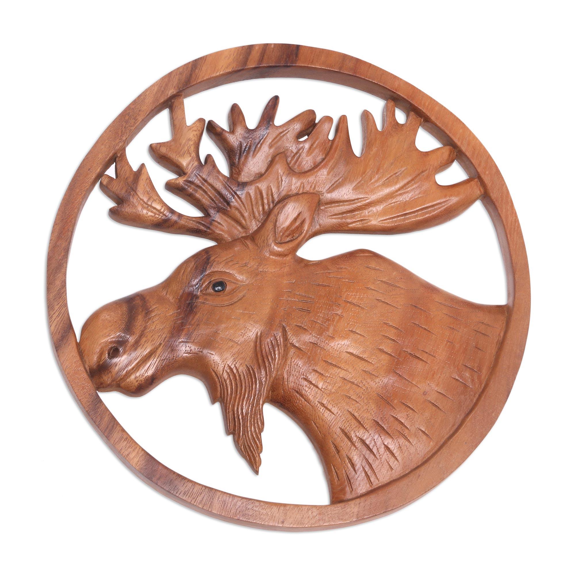 Hand Carved Suar Wood Moose Wall Panel, 'Moose Portrait'