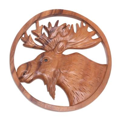 Wood relief panel, 'Moose Portrait' - Hand Carved Suar Wood Moose Wall Panel