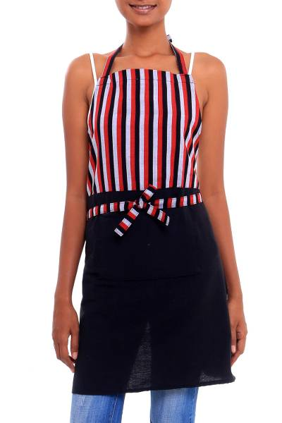 Cotton apron, 'Black and Red Lurik' - Red Black and White Cotton Striped Javanese Lurik Apron