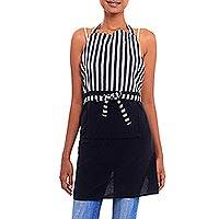 Cotton apron, 'Black and White Lurik' - Black and White Cotton Striped Javanese Lurik Apron