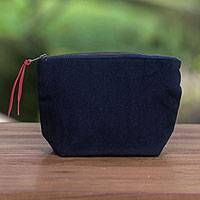 Cotton cosmetics bag, 'Purely Blue' - Navy Cotton Canvas Blue Stripe Lining Zippered Cosmetics Bag