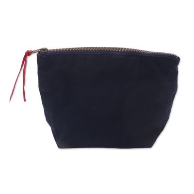 Navy Cotton Canvas Blue Stripe Lining Zippered Cosmetics Bag