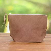 Cotton cosmetic bag, 'Purely Camel' - Camel Cotton Canvas Blue Stripe Lined Zippered Cosmetics Bag