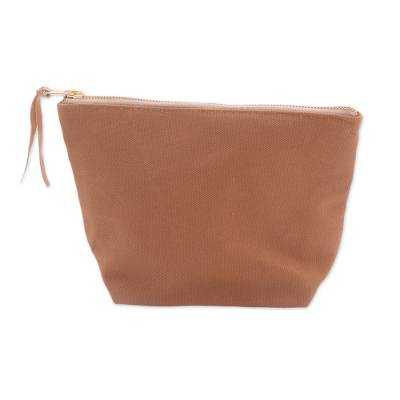 Camel Cotton Canvas Blue Stripe Lined Zippered Cosmetics Bag