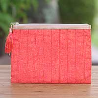 Leather accent cotton clutch, 'Tangerine Evening' - Leather Trim Tangerine Cotton Clutch Crafted in Java