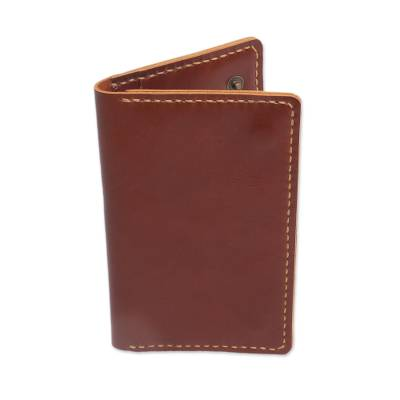 Medium Brown Leather Snap Closure Bi-Fold Passport Wallet