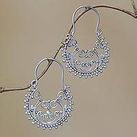 Sterling silver hoop earrings, 'Regal Swirls' - Swirling Sterling Silver Hoop Earrings from Bali