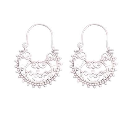 Sterling silver hoop earrings, 'Regal Swirls' - Swirling Sterling Silver Hoop Earrings from Bali