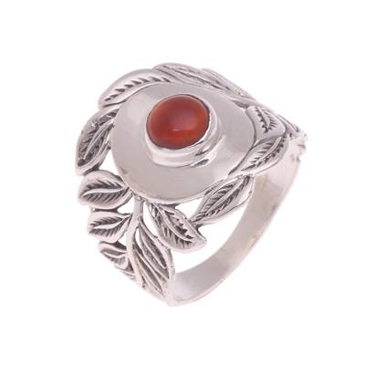 Carnelian cocktail ring, 'Bali Blessings' - Handcrafted Carnelian and Sterling Silver Leaf Cocktail Ring