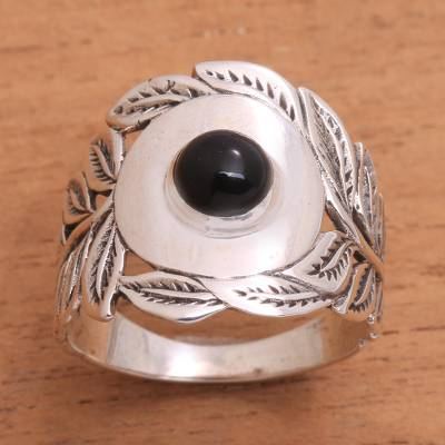 Onyx cocktail ring, 'Leaf Caress' - Leaf Motif Onyx Cocktail Ring from Bali