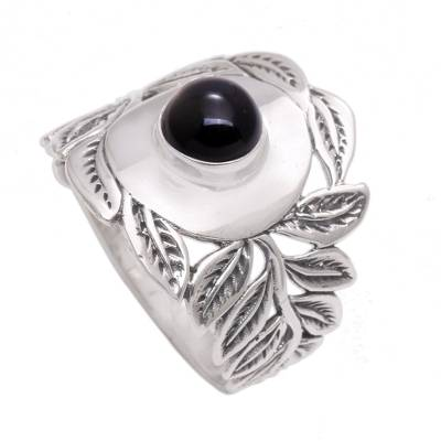 Leaf Motif Onyx Cocktail Ring from Bali