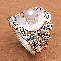 Cultured pearl cocktail ring, 'Leaf Caress' - Leaf Motif Cultured Pearl Cocktail Ring from Bali
