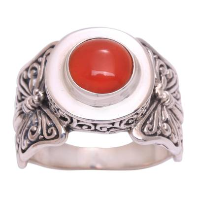 Carnelian cocktail ring, 'Butterfly Caress' - Butterfly Motif Carnelian Cocktail Ring from Bali